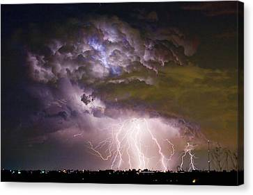 Highway 52 Storm Cell - Two And Half Minutes Lightning Strikes Canvas Print by James BO  Insogna