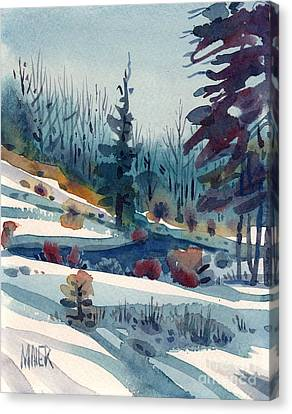 Hillside In Winter Canvas Print by Donald Maier