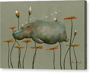 Hippo Underwater Canvas Print by Juan  Bosco