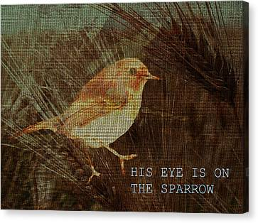 His Eye Is On The Sparrow Canvas Print by Suzanne Carter