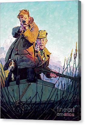 His First Duck Canvas Print by Norman Rockwell