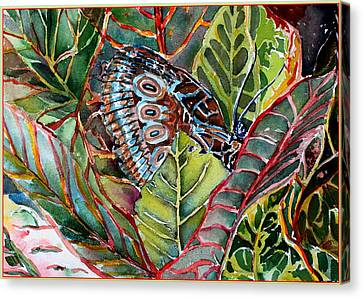 His Monarch In Green And Red Canvas Print by Mindy Newman