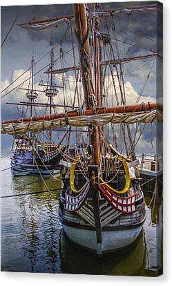 Historic Jamestown Ships Canvas Print by Randall Nyhof
