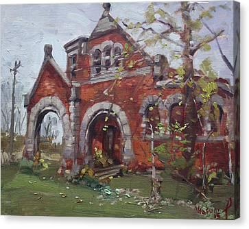 Historic Union Street Train Station In Lockport Canvas Print by Ylli Haruni