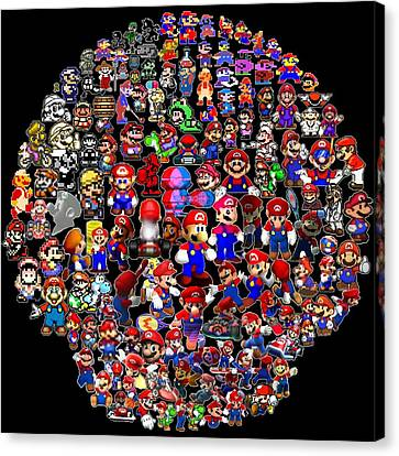 History Of Mario Mosaic Canvas Print by Paul Van Scott