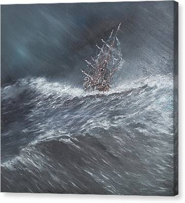 Hms Beagle In A Storm Off Cape Horn Canvas Print by Vincent Alexander Booth