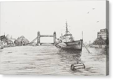 Hms Belfast On The River Thames Canvas Print by Vincent Alexander Booth