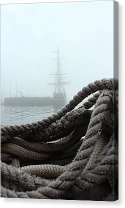 Hms Bounty In The Eastport Fog Canvas Print by Rick  Blood