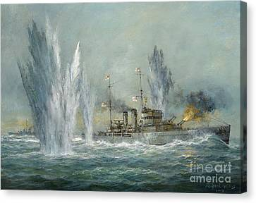 Hms Exeter Engaging In The Graf Spree At The Battle Of The River Plate Canvas Print by Richard Willis