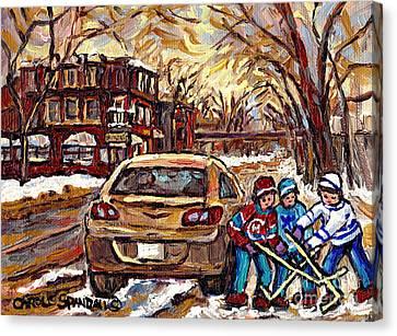 Hockey Art Original Canadian Paintings Streets Of Montreal Winter Scene In The Pointe Carole Spandau Canvas Print by Carole Spandau
