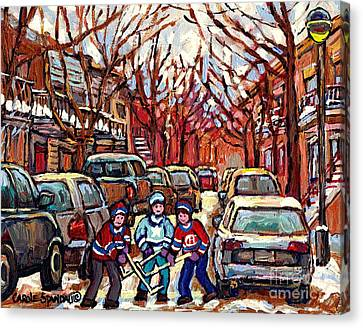 Hockey Art Winter Scene Painting After The Snow Streets Of Pointe St Charles Art Carole Spandau Canvas Print by Carole Spandau