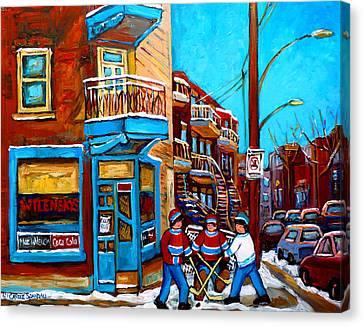 Hockey At Wilensky's Diner Montreal Canvas Print by Carole Spandau
