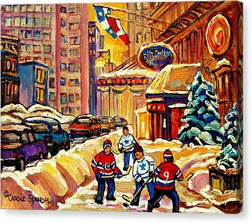 Hockey Fever Hits Montreal Bigtime Canvas Print by Carole Spandau