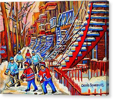 Hockey Game Near The Red Staircase Canvas Print by Carole Spandau