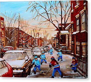 Hockey Gameon Jeanne Mance Street Montreal Canvas Print by Carole Spandau