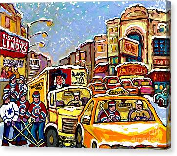 Hockey Kids On Main Street Montreal Memories Lindy's Restaurant Rialto Theatre Canadian Winter Scene Canvas Print by Carole Spandau