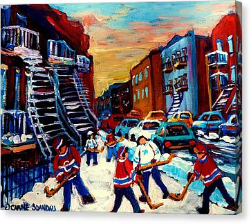 Hockey Paintings Of Montreal St Urbain Street City Scenes Canvas Print by Carole Spandau
