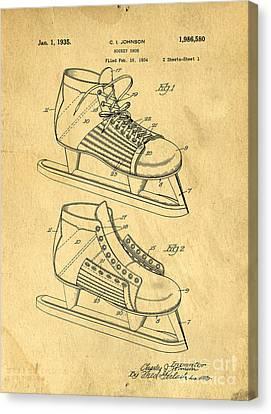 Hockey Skates Patent Art Blueprint Drawing Canvas Print by Edward Fielding