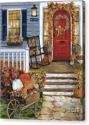Pumpkin Porch Canvas Print by Marilyn Dunlap