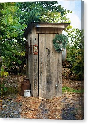Holiday Outhouse Canvas Print by Marty Koch