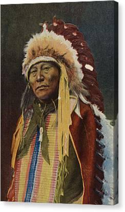 Hollow Horn Bear Canvas Print by American School
