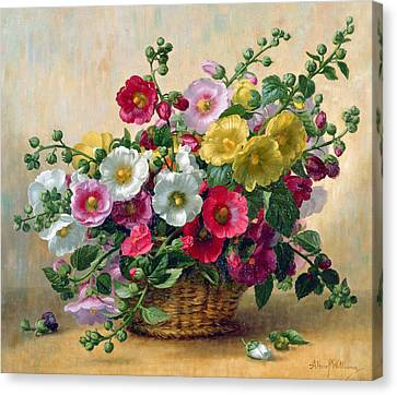 Hollyhocks In A Basket Canvas Print by Albert Williams