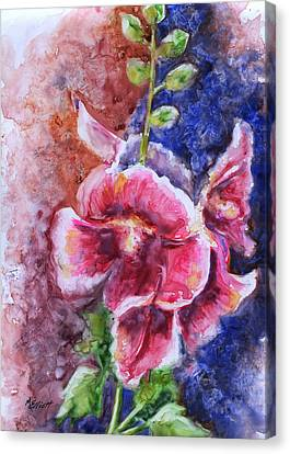 Hollyhocks Canvas Print by Marsha Elliott
