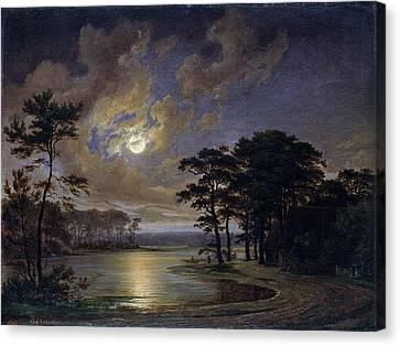 Holstein Sea Moonlight Canvas Print by Johann Georg Haeselich