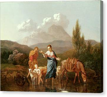 Holy Family At A Stream Canvas Print by Karel Dujardin