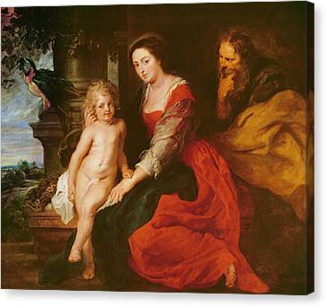 Holy Family With Parrot Canvas Print by Rubens