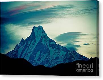 Holy Mount Fish Tail Machhapuchare 6998m Canvas Print by Raimond Klavins