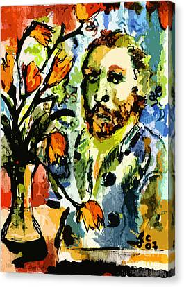 Homage To Vangogh Tulips And Portrait Canvas Print by Ginette Callaway