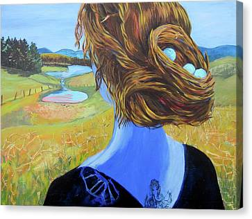 Home With Nest In Hair Canvas Print by Tilly Strauss