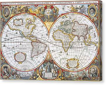 Hondius World Map, 1630 Canvas Print by Photo Researchers