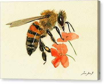 Honey Bee Watercolor Painting Canvas Print by Juan  Bosco