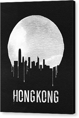Hong Kong Skyline Black Canvas Print by Naxart Studio