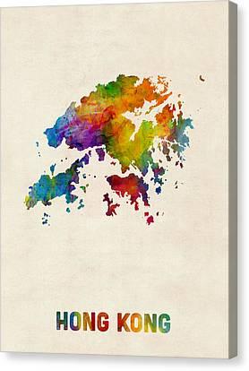 Hong Kong Watercolor Map Canvas Print by Michael Tompsett