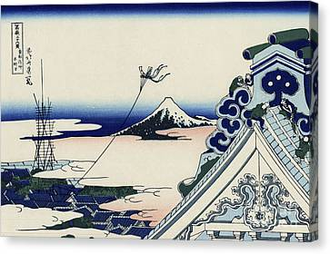 Honganji Temple At Asakusa In The Eastern Capital Canvas Print by Katsushika Hokusai