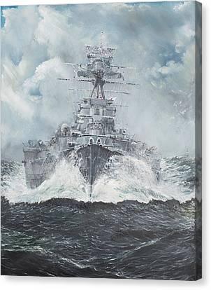 Hood Heads For Bismarck Canvas Print by Vincent Alexander Booth