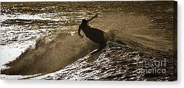 Hookipa Maui Surfer At Sunset Canvas Print by Denis Dore