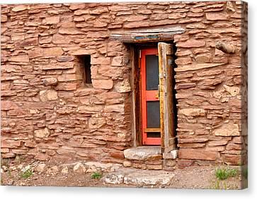 Hopi House Door Canvas Print by Julie Niemela