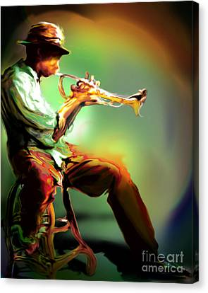 Horn Player II Canvas Print by Mike Massengale