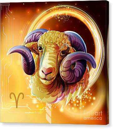 Horoscope Signs-aries Canvas Print by Bedros Awak