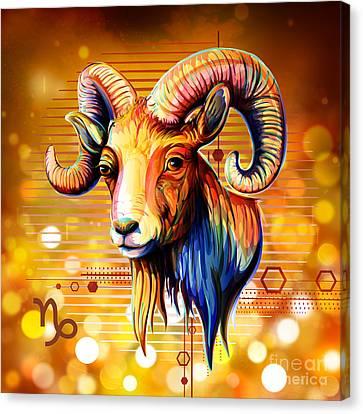 Horoscope Signs-capricorn Canvas Print by Bedros Awak