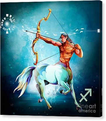 Horoscope Signs-sagittarius Canvas Print by Bedros Awak