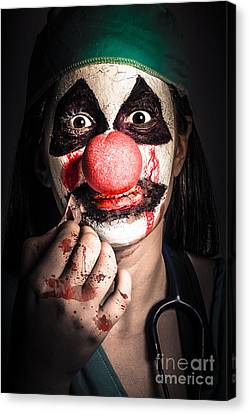 Horror Clown Girl In Silence With Stitched Lips Canvas Print by Jorgo Photography - Wall Art Gallery