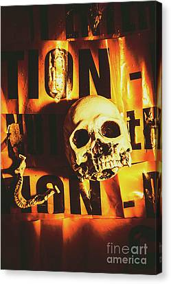 Horror Skulls And Warning Tape Canvas Print by Jorgo Photography - Wall Art Gallery