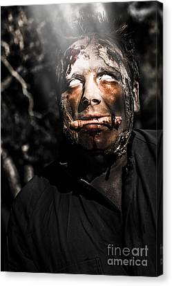 Horror Zombie With Finger Food. Bad Taste Canvas Print by Jorgo Photography - Wall Art Gallery