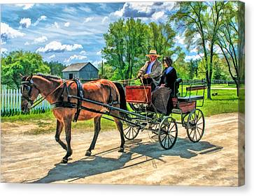 Horse And Buggy At Old World Wisconsin Canvas Print by Christopher Arndt