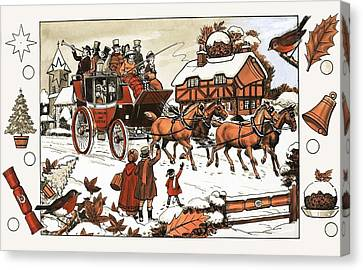 Horse And Carriage In The Snow Canvas Print by English School